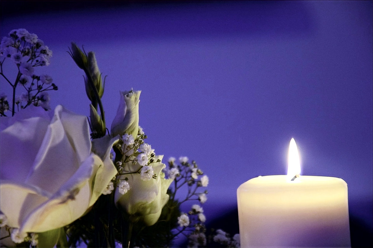 White flowers and white lit candle on blue faded background.