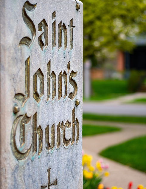 Sign from out front of St. John's Church Thorold.