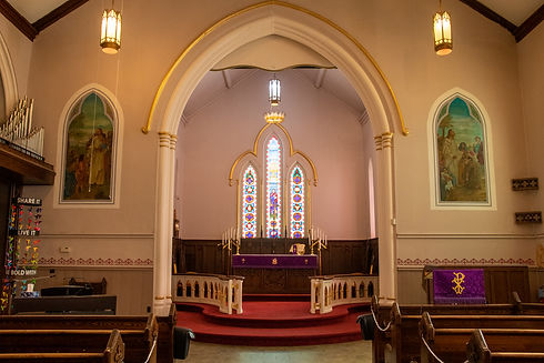 Empty St. John's Church, Thorold during lent showing purple altar cloth.