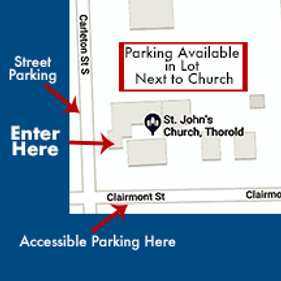 Map of parking and best entrance at St. John's Church, Thorold.