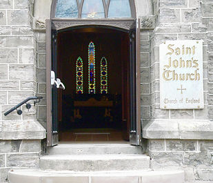 Front doors and sign of St. John's Church, Thorold