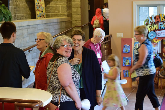 Volunteers and children enter for another fun-filled day of VBS at St. John's Church, Thorold.