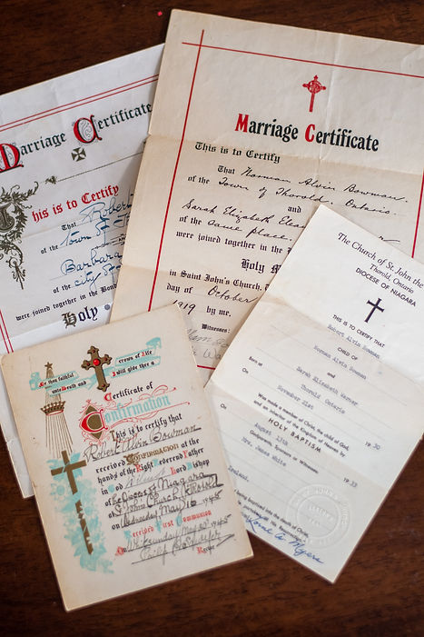 Historic Bowman family baptism, wedding and confirmation document from St. John's Church, Thorold.