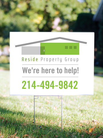 Reside Property Group Sign. Call 214-494-9842