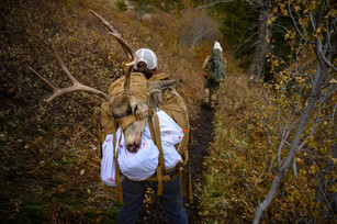 The Wife packing out her Idaho buck