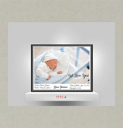 1111-4 Birth Announcement Metal Photo