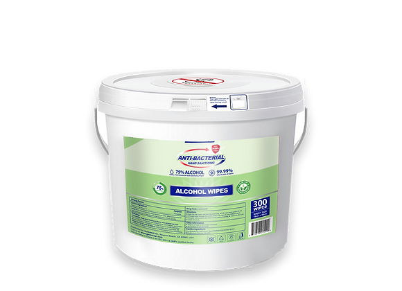 Hand Sanitizing 75% Alcohol Wipes 4 x 300ct = 1200ct With Easy Dispensing Bucket