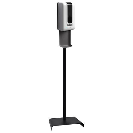 Sanitizer dispenser with tray and stand.