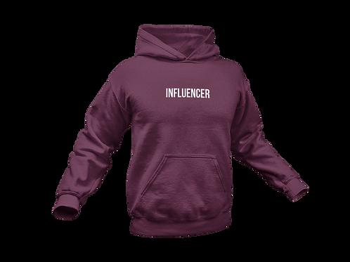 "Maroon ""INFLUENCER"" pullover hoodie"
