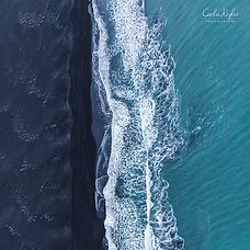 Iceland black sand and ocean from above, Aerial Photography over Iceland