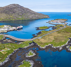 Panoramic image of an Aerial of Lochboisdale Harbour, Isle of South UIst, Outer Hebrides, Scotland