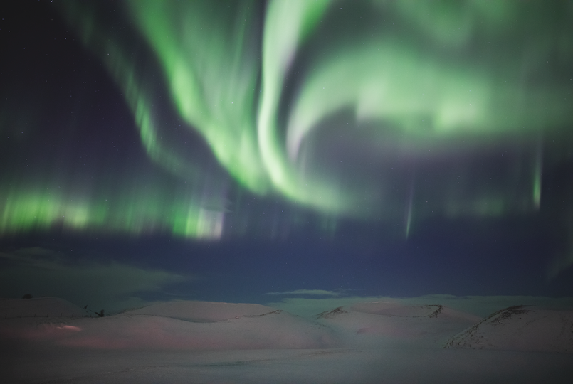 Aurora over the Myvatn craters in North Iceland