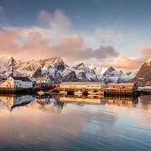 Small fishing village in Lofoten, Norway at sunrise