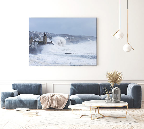 Porthleven storms printed onto large wall art by Carla Regler Photography