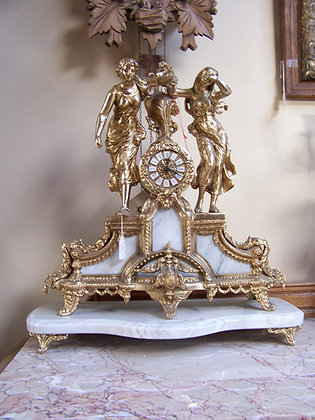 LARGE MANTLE  CLOCK WITH 24K GOLD FIGURINES