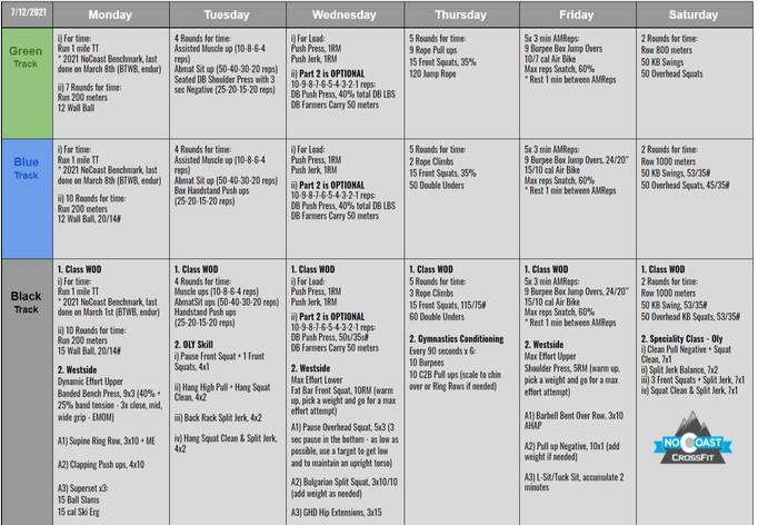 July 12th - 17th Programming