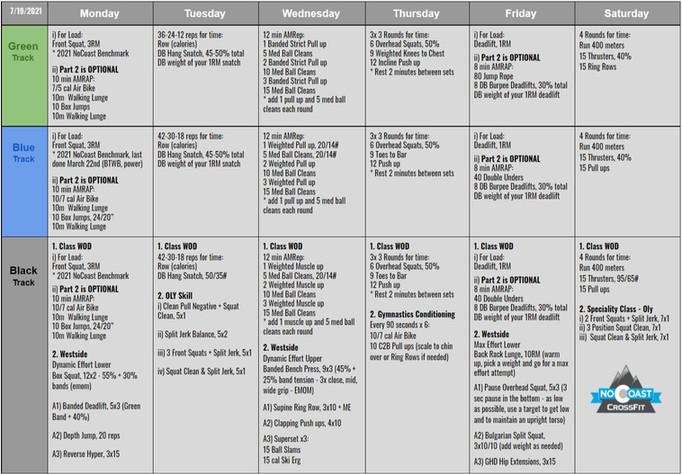 July 19th - 24th Programming