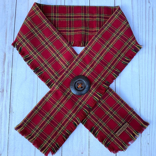 Cranberry Holiday Plaid Crossover Scarf