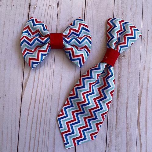 Patriotic Chevron Bow & Tie