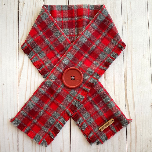 Red & Gray Plaid Crossover Scarf