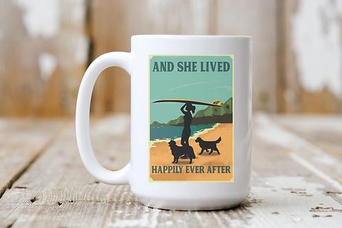 She Lived Happily Ever After (Surfing) Mug