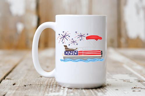 Patriotic Pontoon Boat Dog Mug