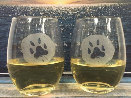 Sand Dollar Dog Stemless Wine Glass