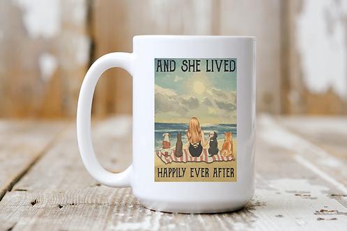 She Lived Happily Ever After (Beach & Wine) Mug