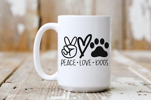 Peace. Love. Dogs. Mug.