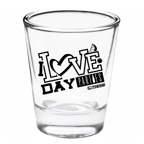 I Love Day Parties Shot Glass