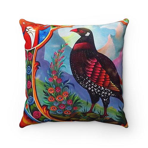Black Partridge - Faux Suede Square Pillow