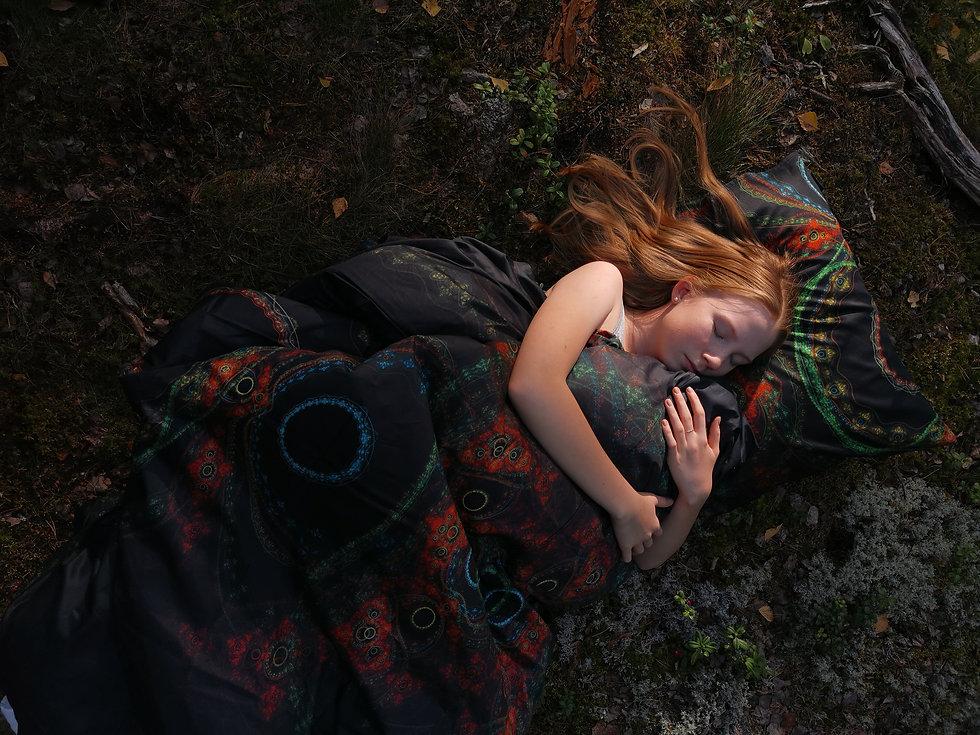 nordic-hygge-fractal-art-bed-linens-Taiga-duvet-cover-design-kuu-sleeping-on-forest-moss