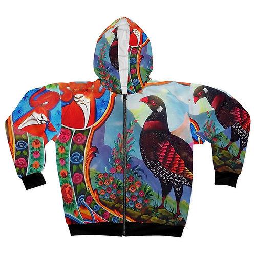 Black Partridge - AOP Unisex Zip Hoodie