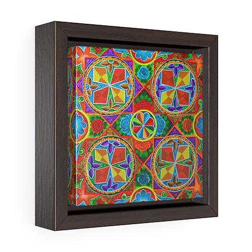 Orange Propeller Square Framed Premium Gallery Wrap Canvas