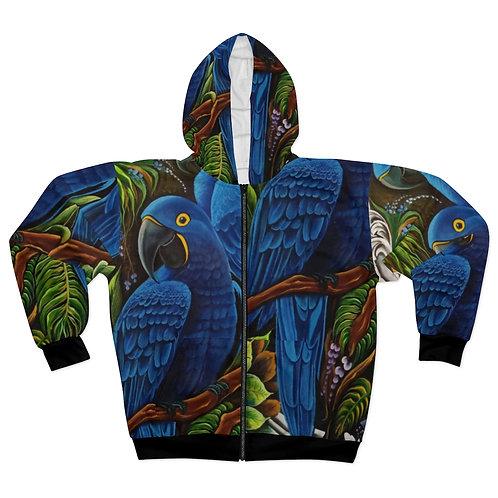 Blue Macaw - AOP Unisex Zip Hoodie
