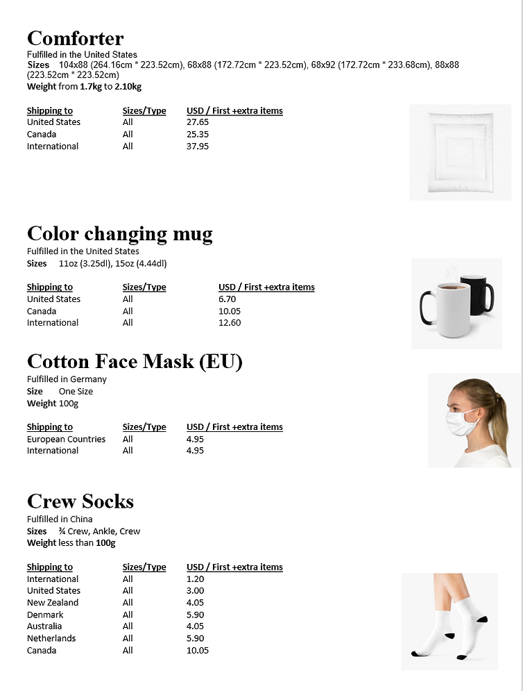 Comforter - Crew socks Product Shipping info and prices