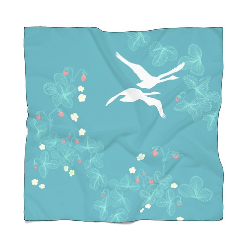 Strawberry Swans Poly Scarf