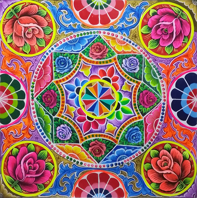 Phool Patti Pakistan's multicolor  truck art painting with rosy ornaments.