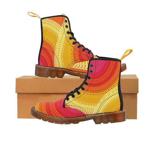 Planet Sun Women's Canvas Boots, Brown Soles