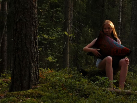 In the forest with 'Karhu' pillow