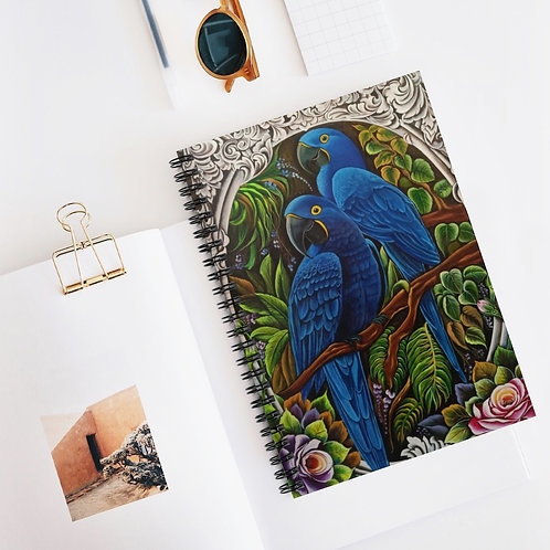 Blue Macaw - Spiral Notebook - Ruled Line