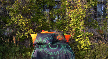 'Forest' bed with 'Taiga' and 'Sun' pillows