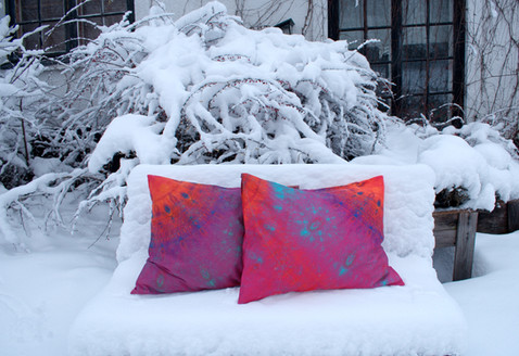 'Joiku' pillowcases on snowy bench