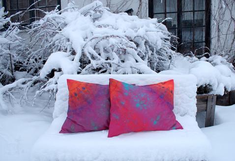 'Joiku' pillowcases on snowy bench