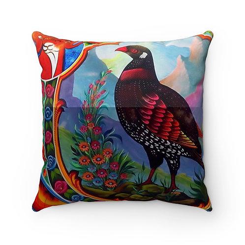 Black Partridge - Spun Polyester Square Pillow Case