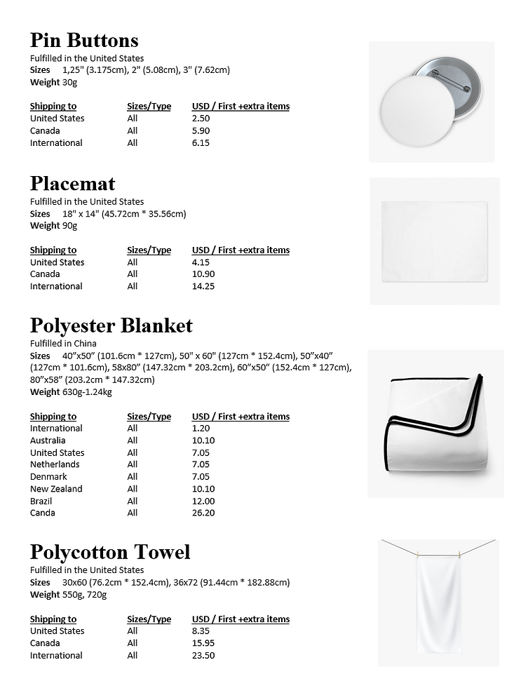 Pin buttons - Polycotton towels Product Shipping info and prices