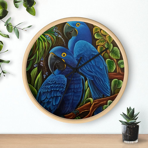 Blue Macaw - Wall clock