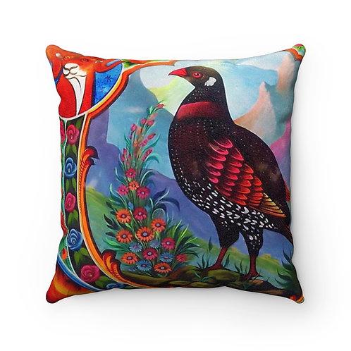 Black Partridge - Faux Suede Square Pillow Case