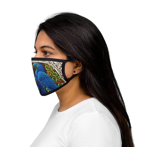 Blue Macaw - Mixed-Fabric Face Mask