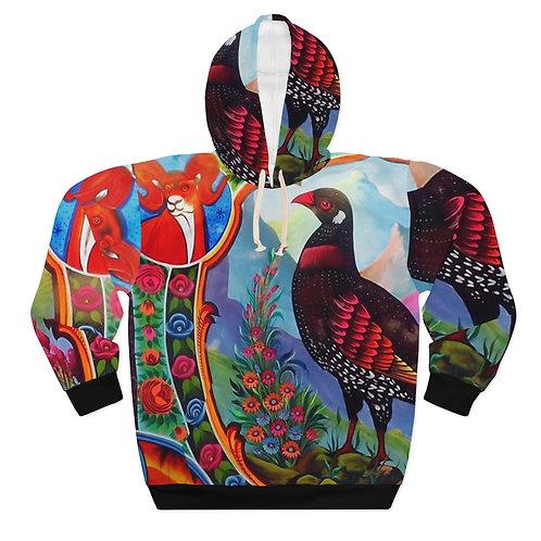 Black Partridge - AOP Unisex Pullover Hoodie